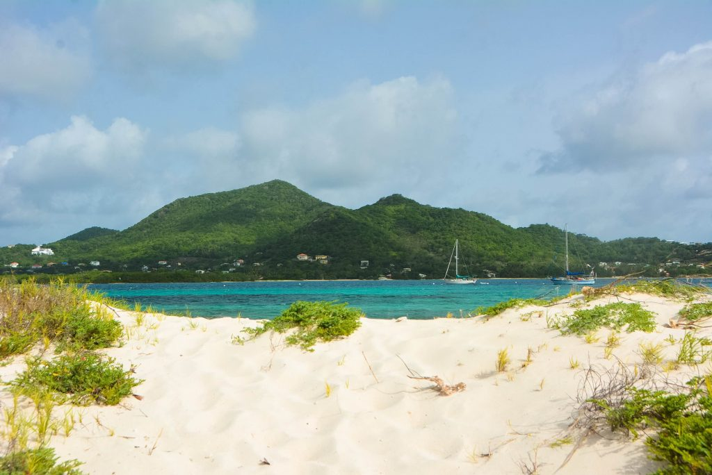 A view of Carriacou from Sandy Island.