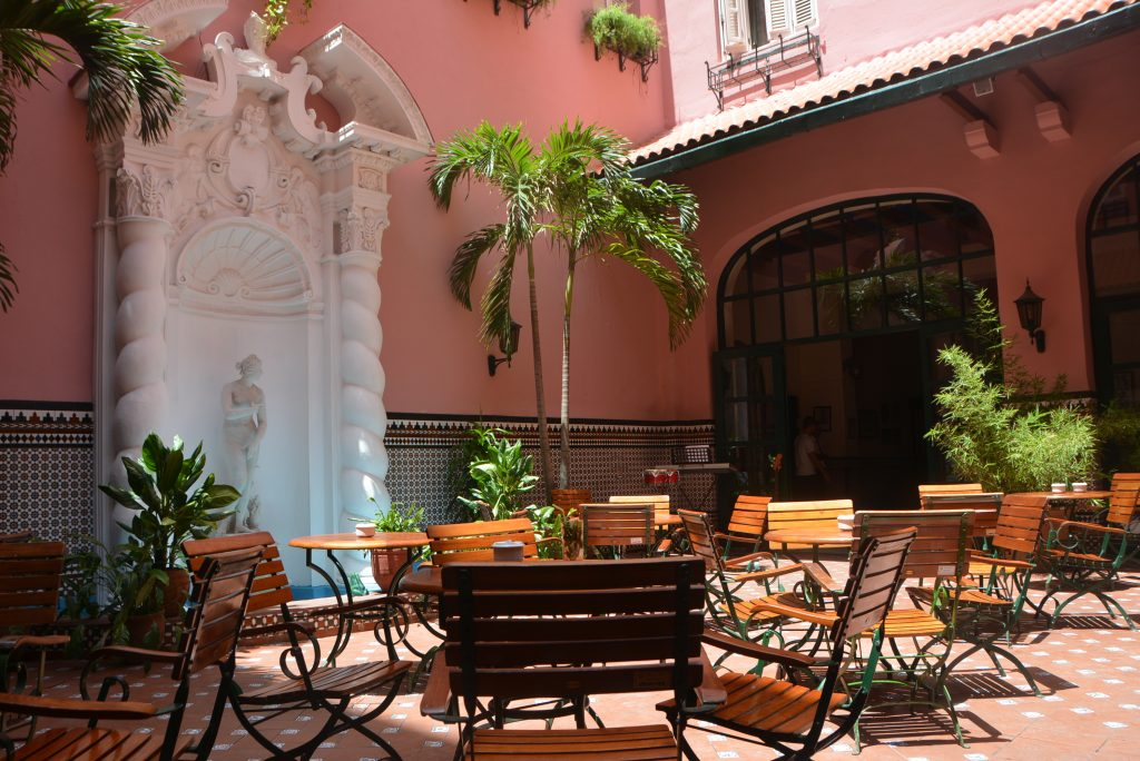 The courtyard restaurant and bar at Hotel Sevilla, Old Havana, Cuba