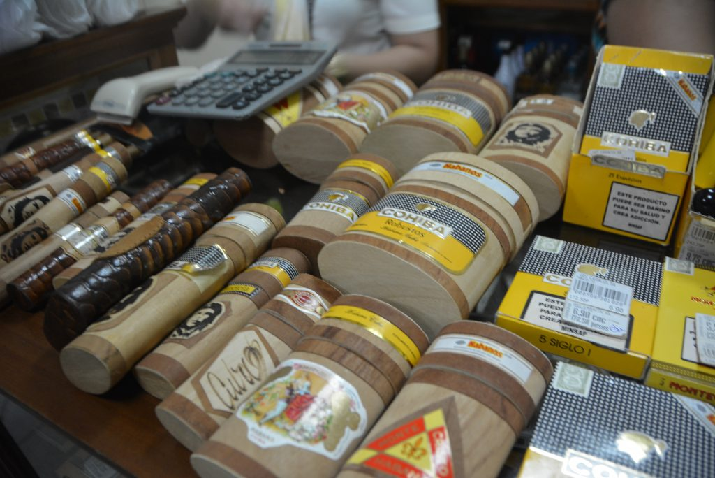Viñales, Cuba: Cigar selection available at the distillery souvenir shop.