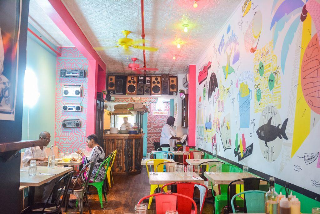 The retro-island decor at Pearl's Caribbean restaurant in Brooklyn, New York