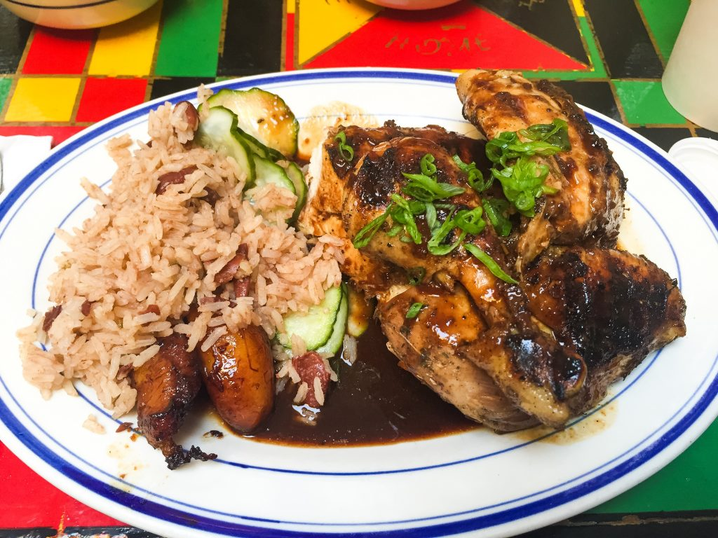 Jerk, rice and peas and plantain at Miss Lily's Soho, Manhattan, New York