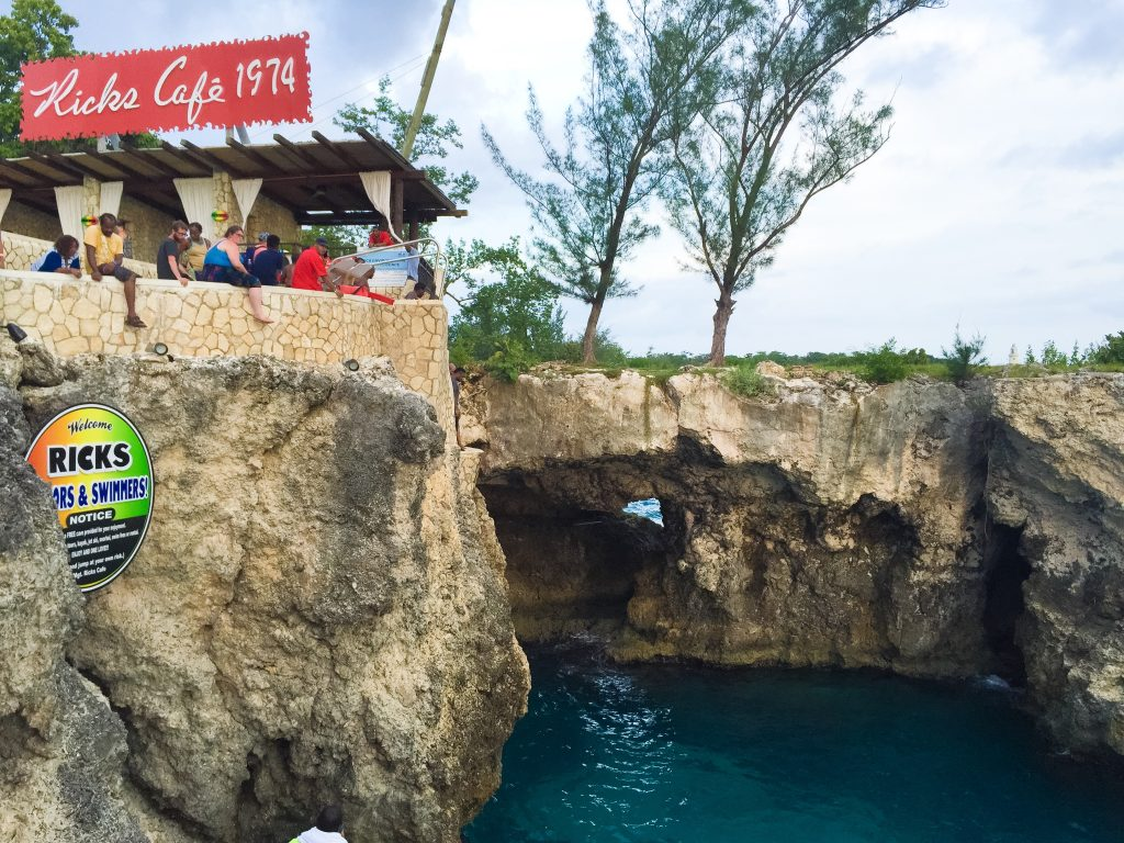 Water activities in Jamaica: A view of the second highest platform at Rick's Cafe, Negril, Jamaica.