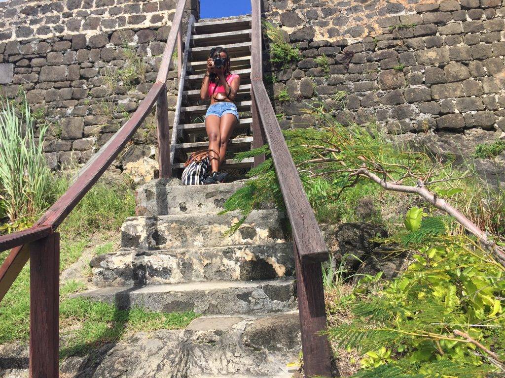 Snapping a pic at Fort Rodney on Pigeon Island, Saint Lucia