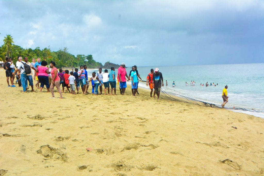 Tobago Heritage Festival: Pulling the seine at the Black Rock Sea Festival. #Tobago