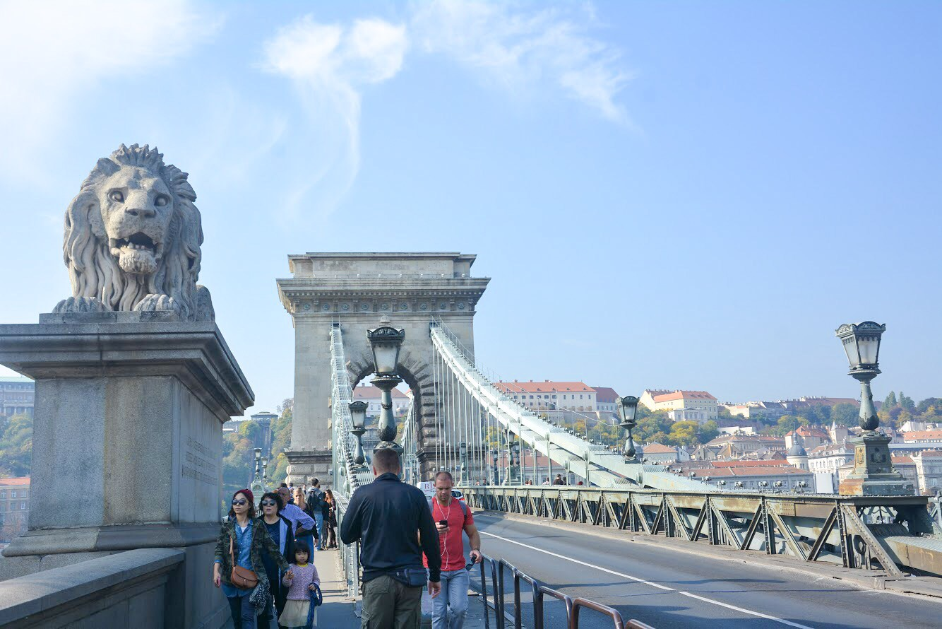 Cool things to do in Budapest: Walk the Széchenyi Chain Bridge