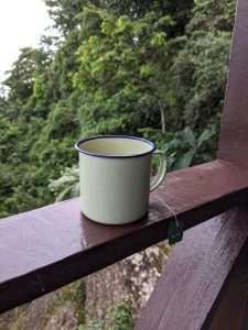 Tea in an enamel cup