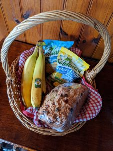 Welcome basket at cabin in Paramin
